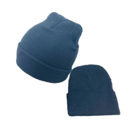 48 of Cuffed Knitted Beanie Hat In Black