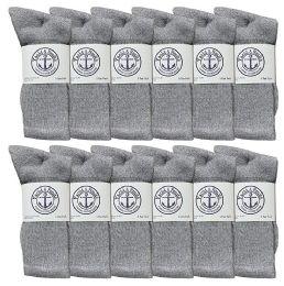 12 Units of Yacht & Smith Mens Wholesale Bulk Cotton Socks, Athletic Sport Socks Shoe Size 8-12 (gray, 12) - Mens Crew Socks