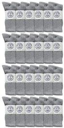 24 Units of Yacht & Smith Mens Wholesale Bulk Cotton Socks, Athletic Sport Socks Shoe Size 8-12 (gray, 24) - Mens Crew Socks
