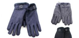 24 Units of Ladies Suede Gloves With Fur Cuff - Winter Gloves