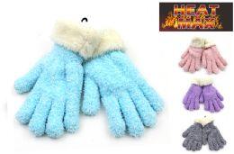 24 Units of Women's Warm Knit Sherpa Gloves - Winter Gloves