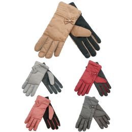36 Units of Ladies Fashion Texting Gloves With Bow Design - Conductive Texting Gloves