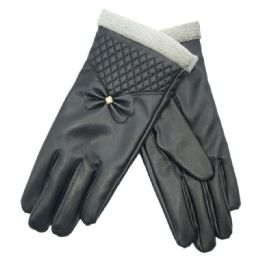 72 Units of Women's Leather Touch Screen Glove - Leather Gloves