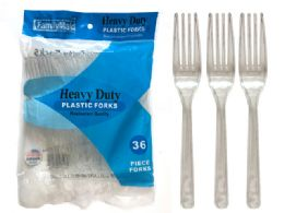 48 Units of 36 Count Heavy Duty Plastic Forks - Disposable Cutlery