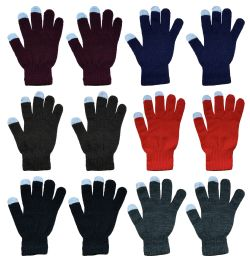 12 Units of Yacht & Smith Unisex Winter Texting Gloves, Warm Thermal Winter Gloves (12 Pack Assorted) - Conductive Texting Gloves