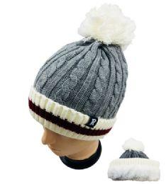 48 Bulk Knitted Plush-Lined Pom Pom Hat