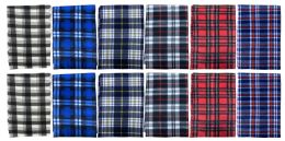 144 Units of Yacht & Smith Unisex Warm Winter Plaid Fleece Scarfs Assorted Colors Size 60x12 Bulk Buy - Scarves for Charity