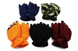 24 Units of Convertible Fleece Gloves Mittens - Winter Gloves