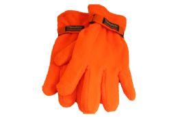 48 Units of Orange Polar Fleece Gloves - Winter Gloves