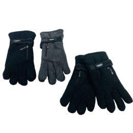 48 Bulk Men's Extra Warm Fleece Gloves With Zipper Pocket