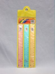 144 Units of Ruler Three Piece Metal Assorted Color - Rulers