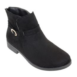 12 Units of Women's Suede Ankle Boots In Black - Women's Boots