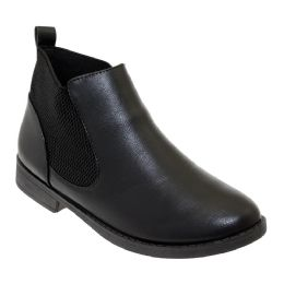 12 Units of Women's Leather Ankle Booties In Black - Women's Boots