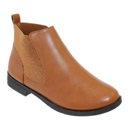12 Units of Women's Leather Ankle Booties In Brown - Women's Boots