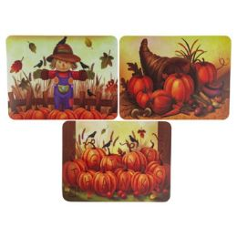 72 Units of Assorted Plastic Harvest Prints Placemats - Placemats