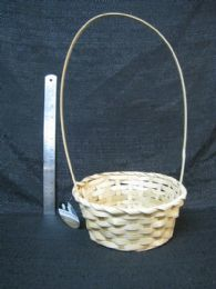 24 Units of Bamboo Basket Round With Tall Handle Neutral - Baskets