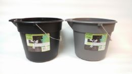 24 Units of Plastic 10 Liter Bucket With Metal Handle - Buckets & Basins