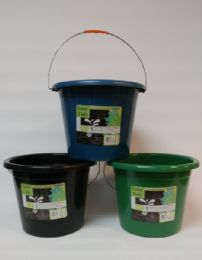 24 Units of Plastic Water Pail With Metal Handle Assorted Colors - Buckets & Basins