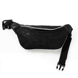 24 Units of Diamond Design Large Fanny Packs Belt Bags In Black - Fanny Pack