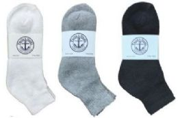 360 Units of Yacht & Smith Kid's Cotton Mid Ankle Socks Set Assorted Colors Black, White Gray Size 6-8 - Sock Care Sets