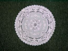 432 Units of Crochet Round Placemat White Silver - Placemats