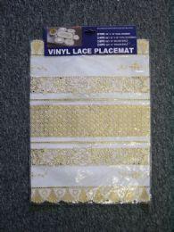 24 Units of Vinyl Lace Placemat White Gold - Placemats