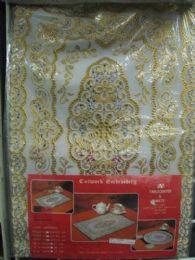 180 Units of 2 Piece Set Oblong White Gold Vinyl Placemat - Placemats