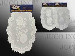 36 Units of Table Mat Round White Polyester Lace - Table Runner