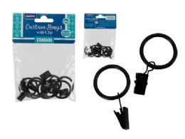 144 Units of 8 Piece Metal Black Curtain Rings - Window Curtains