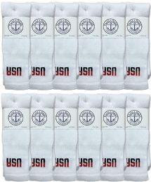 12 Bulk Yacht & Smith Men's Cotton 28 Inch Tube Socks, Referee Style, Size 10-13 White With Usa Print