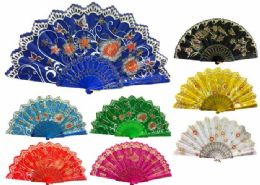 48 Wholesale Hand Fan With Flower And Butterfly Design Assorted