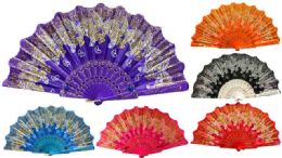 48 Wholesale Hand Fan With Glittery Butterfly Design Assorted Colors