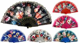 48 Wholesale Hand Fan With Flowers And Lace Assorted Colors