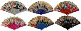 48 Wholesale Colorful Fan With Assorted Flower Design