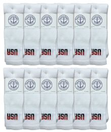 36 Units of Yacht & Smith Men's Cotton 28 Inch Tube Socks, Referee Style, Size 10-13 White With Usa Print - Mens Tube Sock