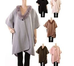 18 Units of Womens Polyester Winter Cape With With Fur Trimmings In Assorted Color - Winter Pashminas and Ponchos
