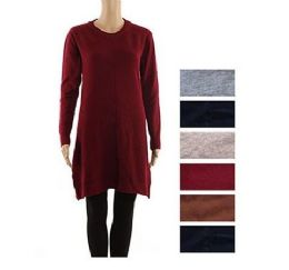 24 of Women's Long Sleeve Crew Neck Pullover Loose Tunic Sweater Dress
