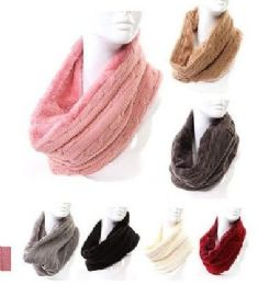48 Bulk Women's Cable Knit Winter Infinity Scarf With Plus Lining Neck Warmer