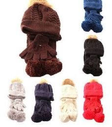 24 Units of Kids Winter Scarf Hat & Glove Set Cable Knit - Winter Sets Scarves , Hats & Gloves