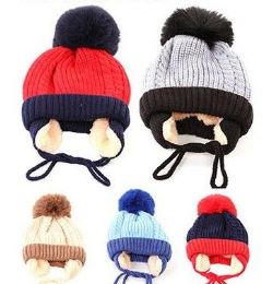 36 Units of Toddler Boys Winter Hat Warm Knit Beanie With Ear Flaps Fleece Lining And Pom Pom - Winter Beanie Hats