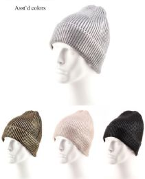 36 Units of Slouchy Adults Ribbed Knit Beanie Winter Hat - Winter Hats