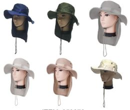 72 Wholesale Men's Fishing Hat With Neck Cover