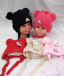 36 Units of Baby Beanie Hat With Fur Lining & Pompom - Junior / Kids Winter Hats