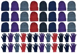 48 Bulk Yacht & Smith Womens Warm Winter Hats And Glove Set Assorted Colors 48 Pieces