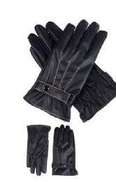 36 Units of Mens Leather Winter Gloves With Snap Design - Leather Gloves