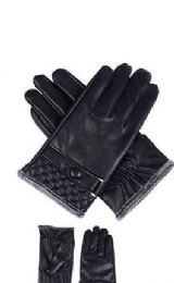 72 Units of Mens Leather Winter Gloves With Snap Design - Leather Gloves