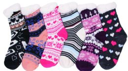 180 Units of Women's Assorted Design Fuzzy Sock - Womens Fuzzy Socks