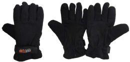 36 Bulk Unisex Black Fleece Winter Gloves