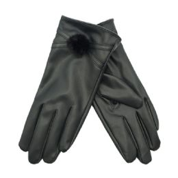 36 Units of Women's Faux Leather Glove With Pom Pom - Leather Gloves