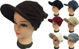 24 Bulk Knitted Lady Hats With Bill Winter Hats Solid Colors